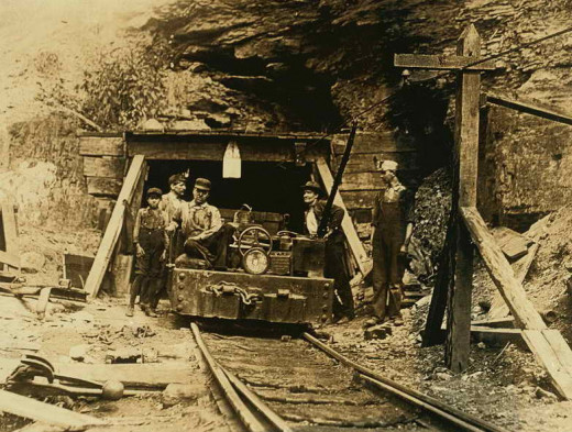 Entrance to a 'drift' coal mine in W.Virginia circa 1908