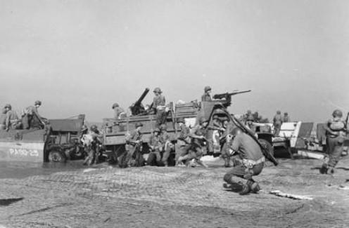 American troops landing at Salerno in September 1943.