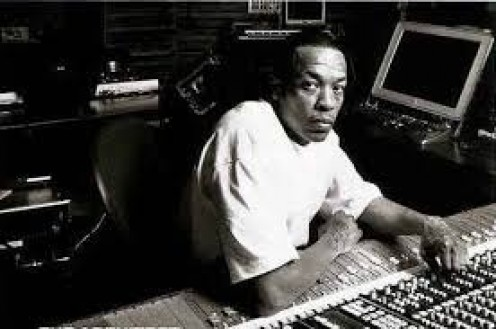 Dr. Dre is in his element in this picture which shows him mixing music in the studio. Dre has produced music for such stars as Mary J. Blige, Ice Cube, Snoop Dogg, Eminem and 50 Cent.