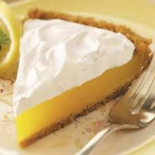 Lemon mousse pie is a delicious desert or snack to eat anytime of day.