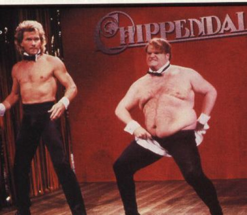The unlikely pairing. Patrick Swayze and Chris Farley as Chippendales Dancers on SNL in 1991;