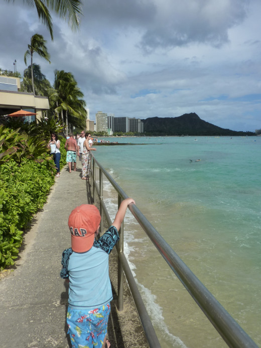 Navigating Waikiki: This cement walkway helps connect the beaches of Waikiki.