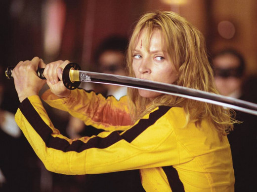 Uma Thurman as Beatrix Kiddo a.k.a Black Mamba a.k.a The Bride in Kill Bill Vol. 1
