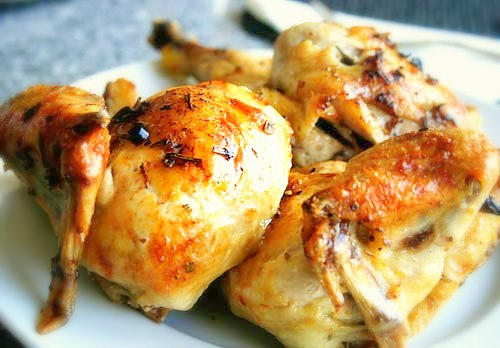 If you want to take this dish up a notch you can add a little bit of fat free chicken stock to the bottom of the roasting place on the stove and loosen up those pan juices that were left in the dish and then use it to spoon over the chicken right bef