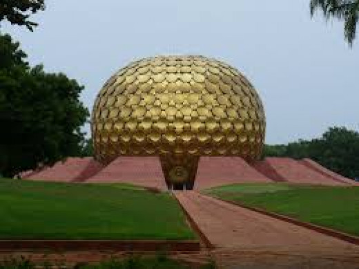 Futuristic Looking Matrimandir (Meditation Centre) In Auroville
