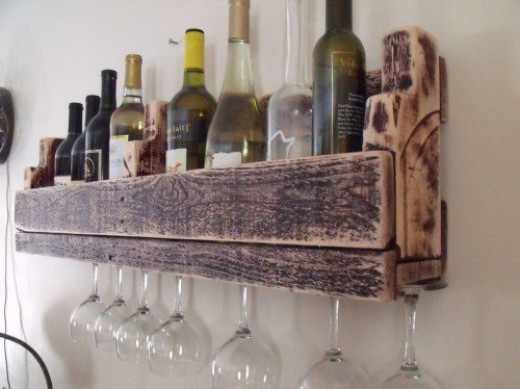Repurposed pallet wine rack.