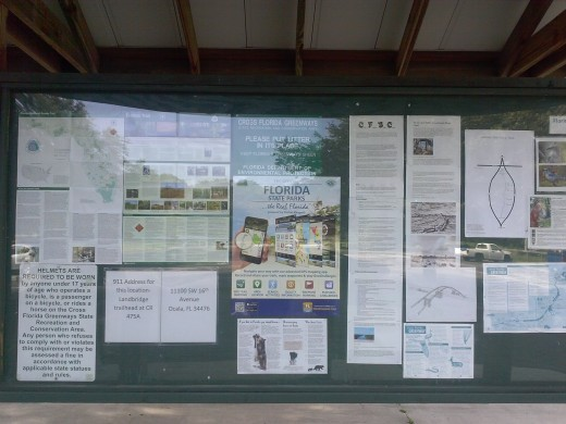 Information board at Land Bridge Trailhead.