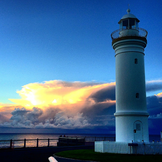The Kiama Lighthouse (next to the blowhole) at sunrise on June 22 2014 (Southern Hemisphere's Winter Solstice)