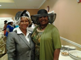 Sima Ballinger and Linda Thornton at the Bridal Shower Tea Party in Auburn Hills.