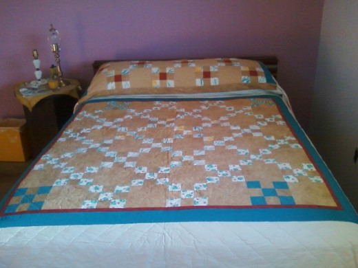 The nine-patch, custom quilt I made for my brother in 2007.