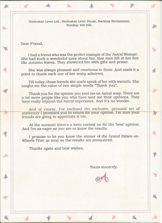 The Fulfillment Letter In The Astral Direct Mailer