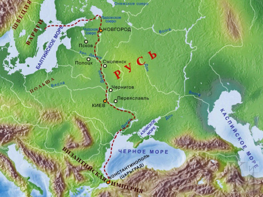 The riverways from the Eastern sea and the Black Sea - the red line starts at Birka in Sweden, runs through the Neva and southern end of Lake Ladoga to the Volkhov, to Kiev and the Black Sea by way of Novgorod.  Kiev was Koenungagard to the Rus