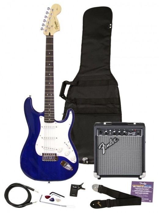 A Squier starter pack contains everything a new guitarist needs to start playing today, and it's a great value.