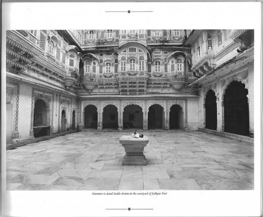 Photocaption: Attention to detail builds drama in the courtyard of Jodhpur Fort