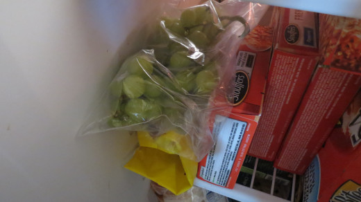 Place grapes on or off the vine in a bag and freeze.