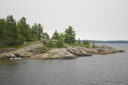 Visitors used a kayak to reach this distant island.