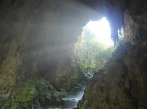The opening into a large cave