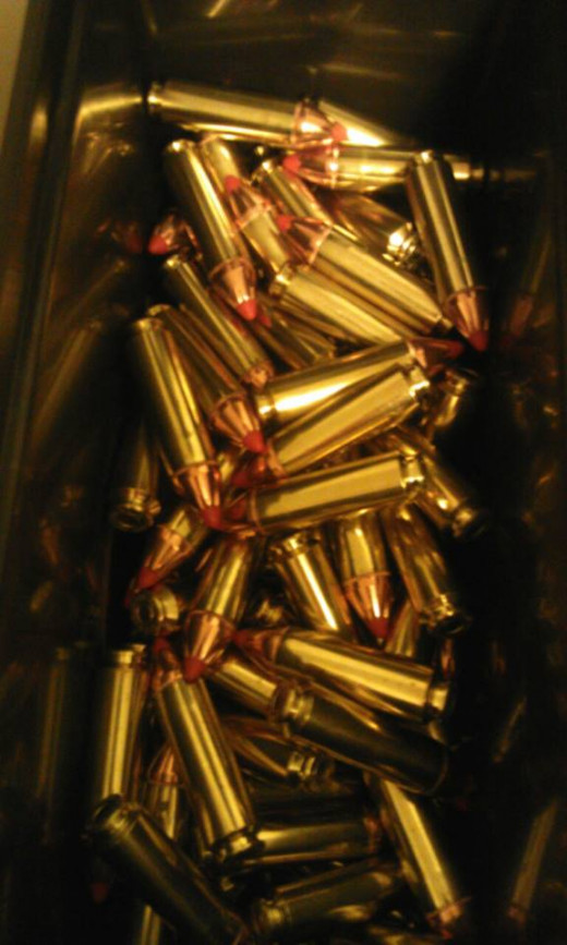 Bulk can of .50 Beowulf handloaded ammunition with Hornady 300gr. FTX bullets