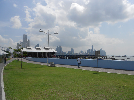 Walking away from downtown Panama City toward Old Town, this is a shot looking back at the skyline.