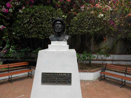 A bust of Fransisco Balboa sits in the middle of the park in Old Town.