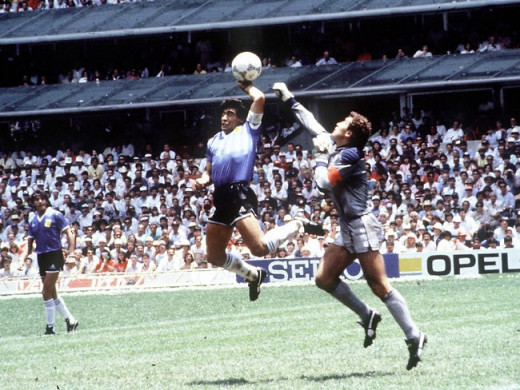 Hand goal of God scoring by deigo Maradona