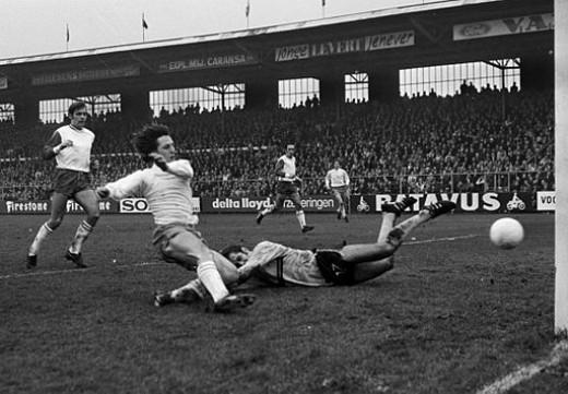 Goals Galore: Cruyff scores during Ajax Amsterdam's 7-1 defeat of FC Utrecht in the Dutch League, 1970-71 season