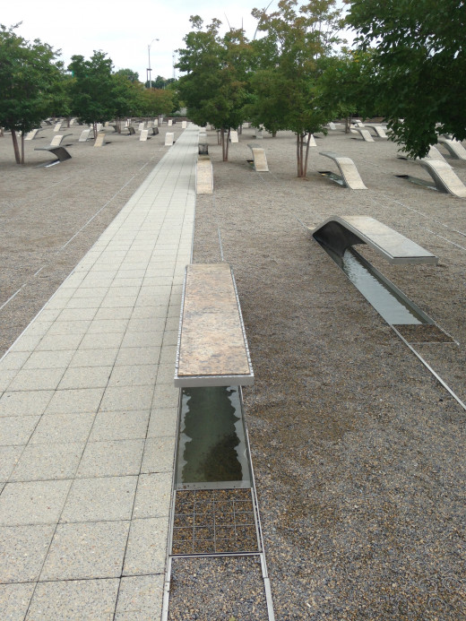 THE BENCHES POINTING AT THE PENTAGON, WHICH THESE ARE, ARE FOR THE PASSENGERS ON FLIGHT 77