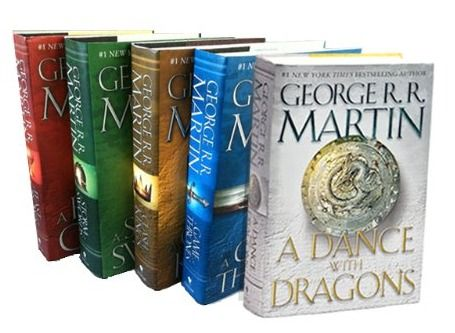 The books from A Song of Ice and Fire series by George R.R. Martin, well known for its reproduction as a TV series on HBO known as Game of Thrones.