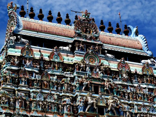 Close up of the top of South Gopuram