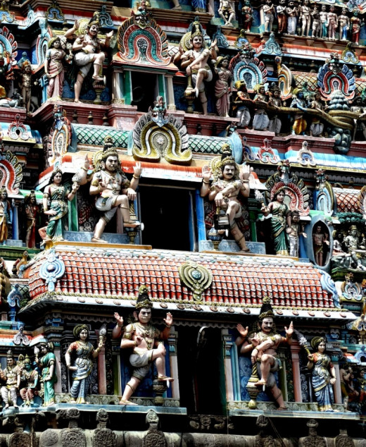 Intricate decoration on Gopuram