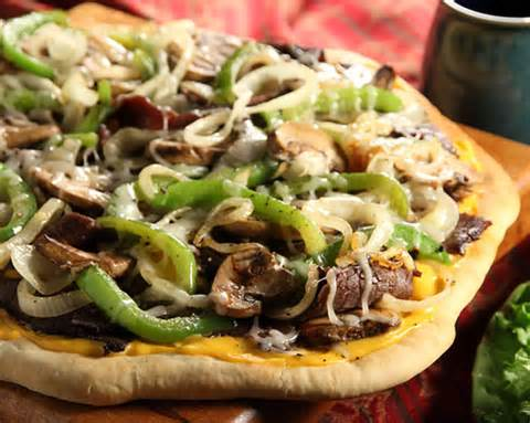 Philly Steak Pizza fresh from the oven