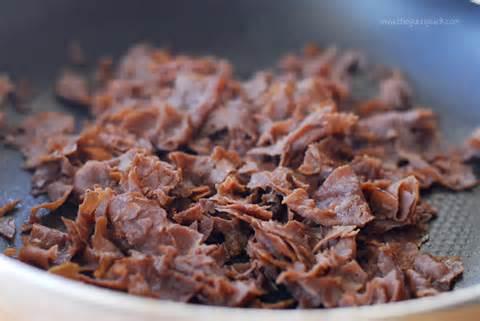 Shredded steak or possibly shredded beef roast