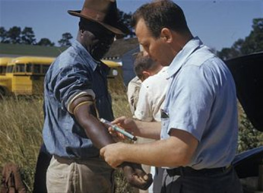 Blood being drawn from a 'volunteer' during the Tuskegee Syphilis Experiment.