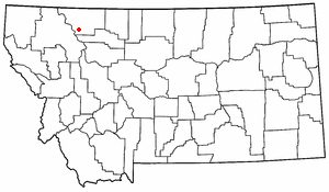 Map location of East Glacier Park, Montana