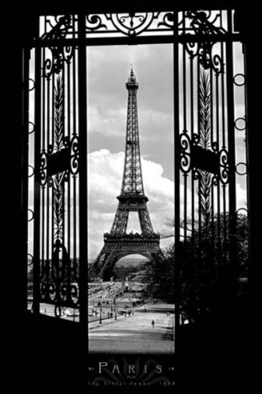 Eiffel Tower (Through Gates, 1909) Art Poster Print