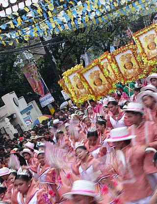 Procession ( praising and thanks giving for saving them, asking for guidance and divine providence) offer to Sto. Nino during Sinulog Festival