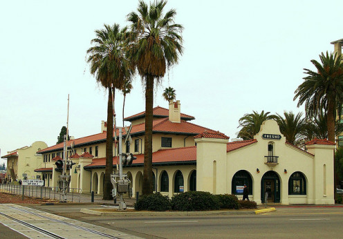 "In Fresno, California - the hometown and mythical setting of William Saroyan and his story ""The Human Comedy."" This is the San Francisco & San Joaquin Valley Railroad Station, built in 1899 to compete with a railway monopoly."