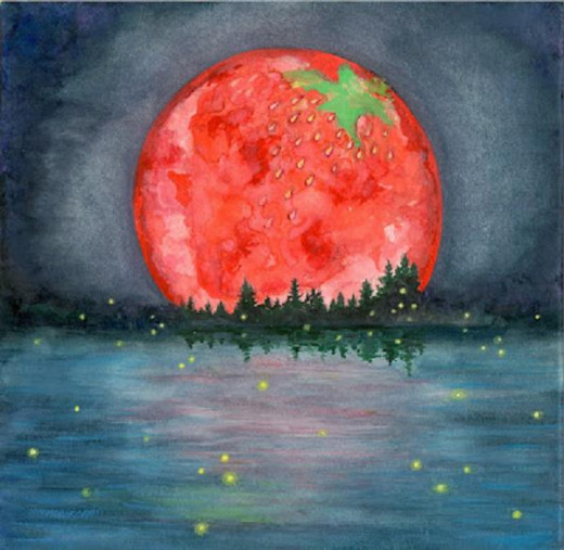 A whimsical portrayal of a strawberry moon
