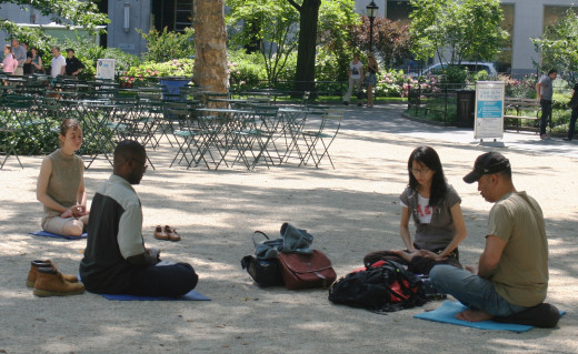 Meditating in Madison Square ParkCC BY-SA 3.0