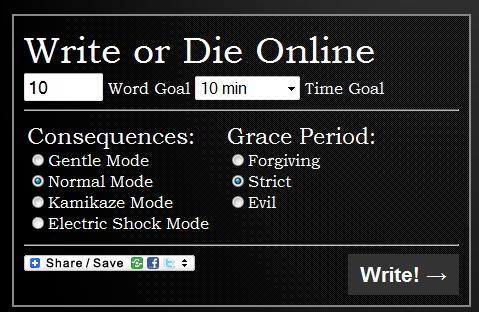 Write or Die's dashboard