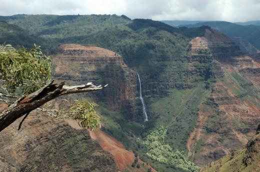 Waipo'o Falls from the Pu'u Ka Pele Viewpoint, Waimea Canyon