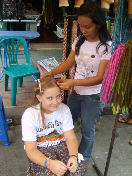 You can get your hair braided with beads in Khao San Rd