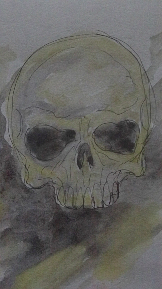 A skull painted quickly with watercolor paints.
