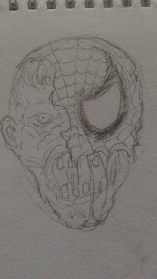 Zombie Spiderman head sketch 1