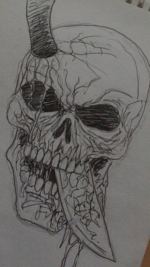 A skull with a knife through it's head