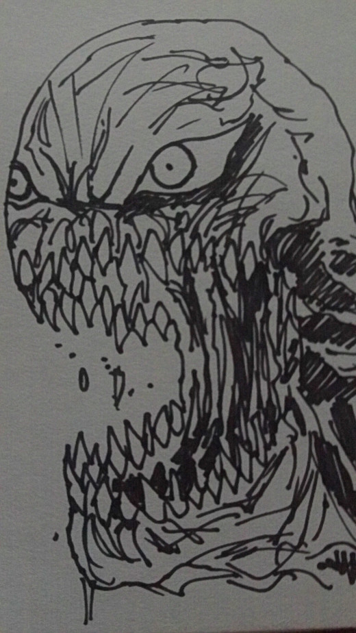 Another demon head sketch done with a thick black art marker.