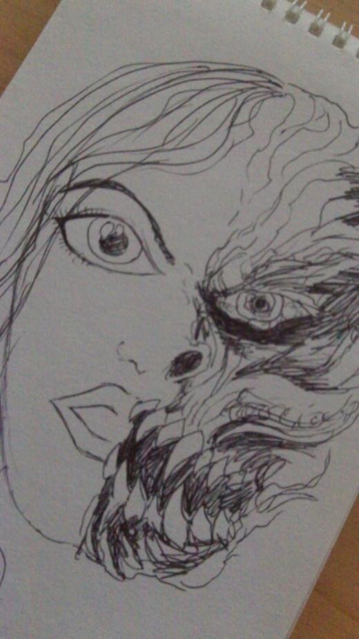 A half Woman half Demon head drawing.