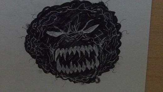An evil Black Afro marker drawing.