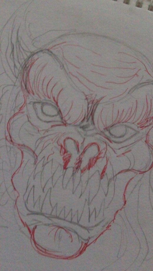 A devil face drawing sketch.