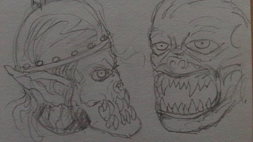 Orc pencil sketches 1 and 2